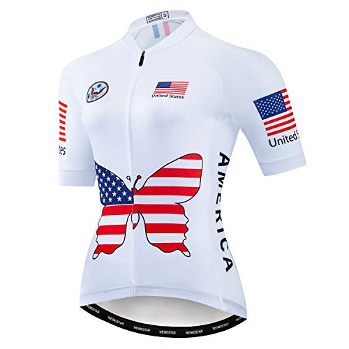 Cycling Jersey Women USA Short Sleeve MTB Bike Shirt Ladies Bicycle Jacket Breathable Reflective US White Size S