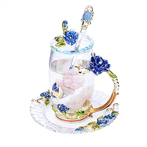 HENHEN Enamel Glass Tea Cup in Gift Box Crystal Clear Glass - Blue Rose ()
