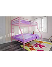 DHP 5418296 Twin Over Full Bunk Bed, Twin-Over-Full, Pink