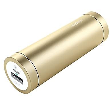 AUKEY 5000mAh Portable Charger - Portable Power Bank for iPhone X,8,8 Plus,7, 7 Plus, 6S, 6s Plus, iPad, Samsung Galaxy Note 8,S8, Nexus 5X/6P & More (Gold) PB-N37