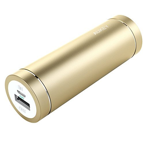 AUKEY Mini 5000mAh Ultra Portable Charger External Battery Power Bank with AiPower Adaptive Charging for iPhone 6S, 6, 6Plus, Galaxy S7 , S7 Edge, Edge+, Note 5 and more - Gold