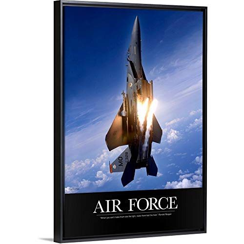 - Kate Lillyson Floating Frame Premium Canvas with Black Frame Wall Art Print Entitled Military Poster: an F-15E Strike Eagle pops Flares 12