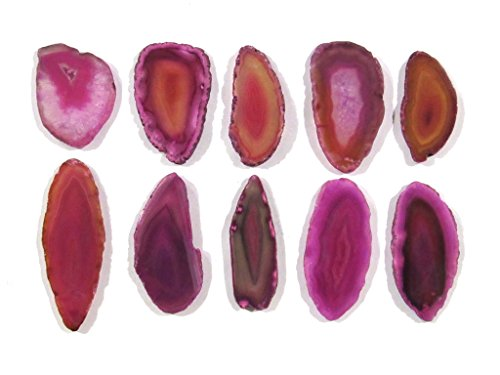 Zentron Crystal Collection: Set of 12 Pink Polished Light Table Agate Slices in Velvet Bag