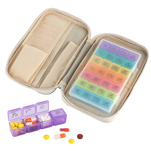 Travel Premium Pill Organizer Case Box Passport Wallet,Multi-Function Daily Pill Box for Vitamin/Fish Oil/Supplements by Louty (Image #7)