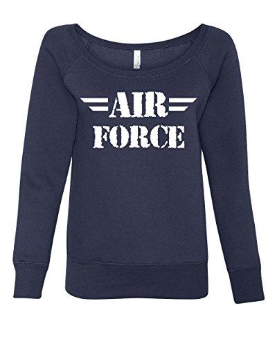 (Tee Hunt Air Force Women's Sweatshirt Military Veteran POW MIA Air Force Mom Navy Blue L)
