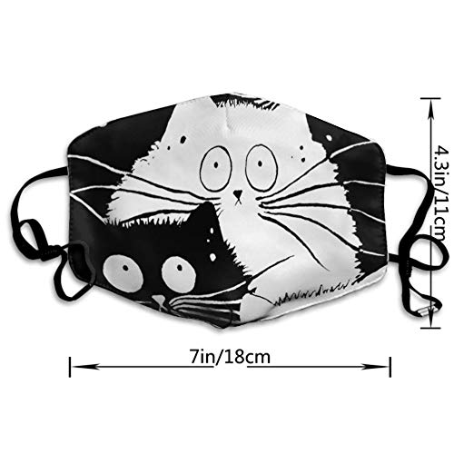 AGRBLUEN Men Women Boys Girls Fashion Breathable Mouth Mask with Adjustable Ear Loops, Safety Dustproof Half Face Mouth Mask (Black and White Cartoon Cat)