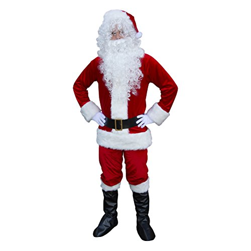 ALEKO SS01RW Plush Santa Suit Set Christmas Santa Claus Full Costume With Beard and Wig