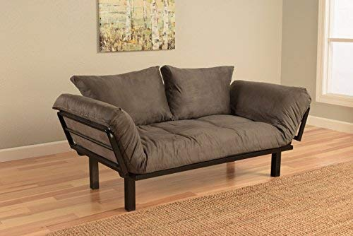 Best Futon Lounger Sit Lounge Sleep Smaller Size Furniture is Perfect for College Dorm Bedroom Studio Apartment Guest Room Covered Patio Porch Key Kitty Key Chain Included. (Gray) (Futon Sofa Bed With Chaise)