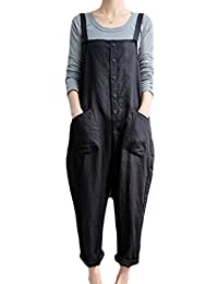 Womens Overalls Autumn Casual Plus Size Linen Cotton Solid Daily Pants