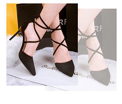 Mit Zehen Stiletto Low Sandale Top Elegant Aisun Damen Schnürung Schwarz Pumps Spitz qxFwpqzCg