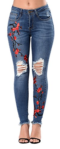 Women's Juniors Embroidered Floral Distressed Slim Fit Stretch Skinny Jeans Blue