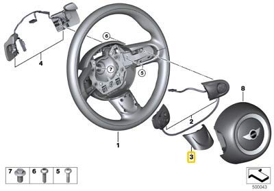 Garniture de volant authentique pour R55 R56 R57 R58 R59 JCW 32306863535
