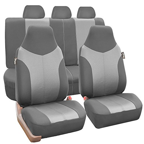 FH Group FB101GRAYGRAY115 Gray Supreme Twill Fabric High Back Car Seat Cover (Full Set Airbag Ready and Split Rear Bench) (Fold Down Rear Bench)