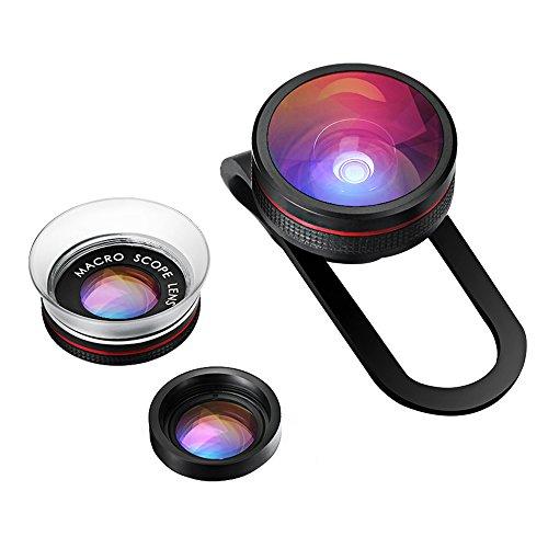 VicTsing Clip-On Fisheye Fischauge Objektiv + 12X Makro Objektiv + 24X Super-Makro-Objektiv 3 in 1 Kamera Adapter Kit für Handy Smartphones iPhone 6S 6 Plus 5 5S Samsung