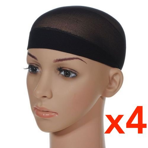 (4 Pcs Unisex Stock Mesh Wig Cap Hat Nylon Stretch Elastic Snood - Black (4Pcs Mesh Wig Cap Black))