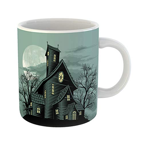 - Emvency Coffee Tea Mug Gift 11 Ounces Funny Ceramic Scary Halloween Scene of Spooky Haunted Ghost House Creepy Gifts For Family Friends Coworkers Boss Mug