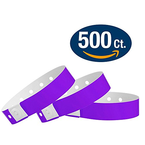 WristCo Purple Plastic Wristbands - 500 Pack Wristbands For Events