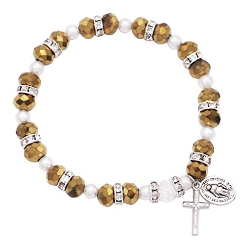 - Rosemarie Collections Women's Beaded Stretch Rosary Bracelet with Crucifix and Miraculous Medal (Sparkle Gold)