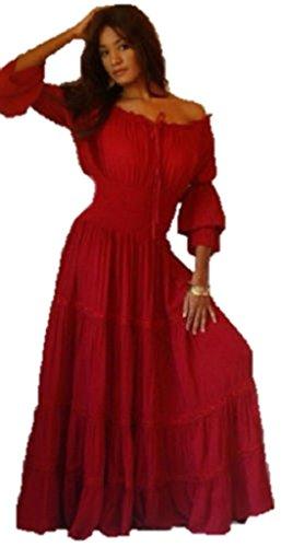 Lotustraders Ruffled Dress Peasant Smocked Red 3X A1290