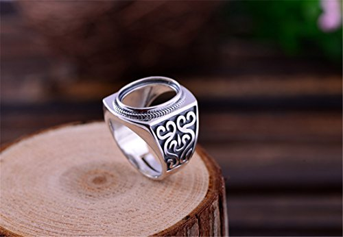 Adjustable Thai Sterling Silver Men's Ring Blank (13x16mm Oval Blank) R040B
