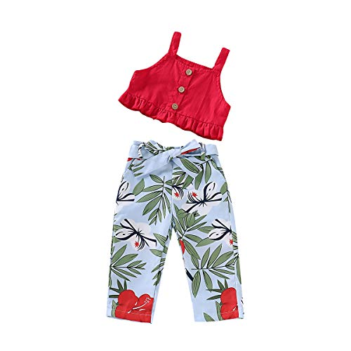 Toddler Baby Girls Halter Button Off Shoulder Ruffle Tank Top + Floral Long Pant Outfit Set Summer Clothing (Red, 2-3 Years) ()