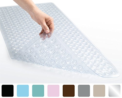 : The Original GORILLA GRIP (TM) Bath Tub and Shower Mat, Many Colors, Antibacterial, BPA, Phthalate & Latex Free, Machine Washable, Extra-Large Size (Clear: Hexagon 35-Inch-by-16-Inch)