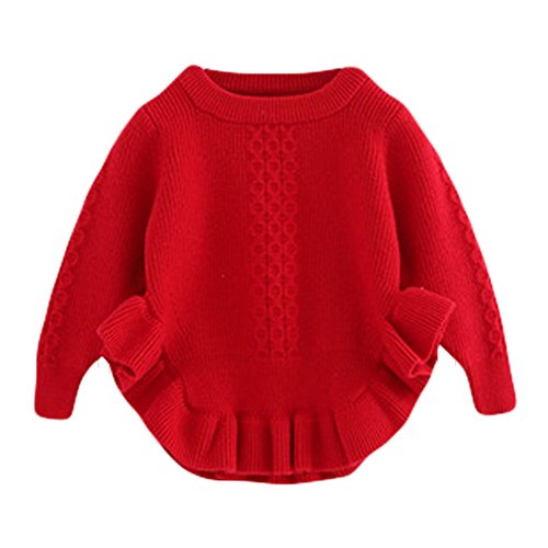Toddler Baby Girls Pullover Sweaters Infant Knitted Sweater Ruffle Red 100 Size 8