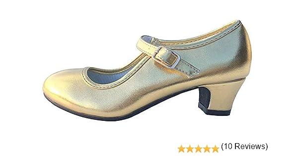 La Señorita Zapato Oro Flamenco Sevillanas de la Princesa Niña: Amazon.es: Zapatos y complementos