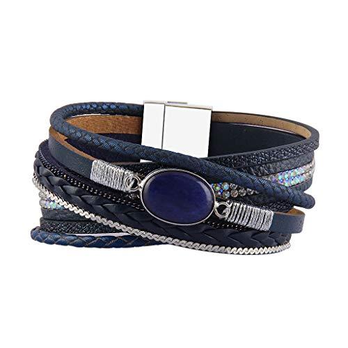 AZORA Leather Cuff Bracelet for Women Agate Braided Strands Bracelets Bangle Jewelry with Magnetic Clasp (Navy Blue Cuff Bracelets)