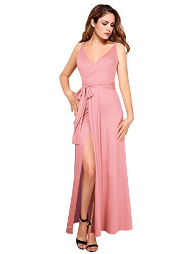 Pink A-line Spaghetti - GlorySunshine Women Wrap V-Neck Strap Sleeveless Split Side Evening Dress Long Evening Gown Upgrade (S, Pink2)