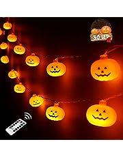 سلسلة مصابيح هالوين جاك او على شكل يقطين، مصابيح LED ثلاثية الابعاد مقاومة للماء لون برتقالي لتزيين حفلات الهالوين في الداخل والخارج (تحوي 30 مصباح LED على شكل يقطين مع جهاز تحكم عن بعد)
