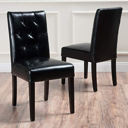 Christopher Knight Home Waldon Black Leather Dining Chairs w/Tufted Backrest (Set of 2)