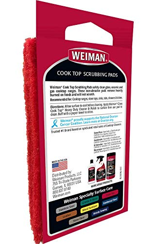 Weiman Cook Top Scrubbing Pads, 18 Count, 6 Pack Cuts Through the Toughest Stains - Scrubbing Pads Carefully Wipe Away Residue by Weiman (Image #1)