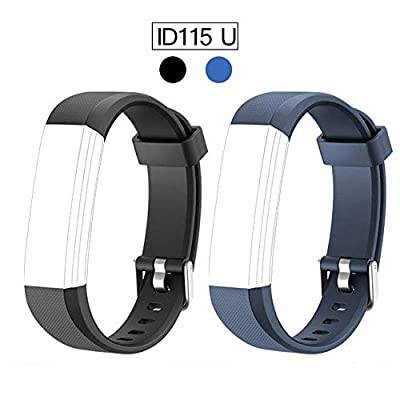 Replacement Band for ID115U, REDGO ID115 U and ID115U HR Replaceable Strap Length Adjustable for Smart Bracelet Fitness Tracker, 2 Packs, Black Blue