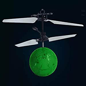 SODIAL Infrared Induction Drone Flying Flash LED Lighting Ball Helicopter Child Kid Toy Gesture-Sensing No Need to Use Remote Control USB Charging (Crack)Green