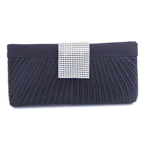 YYW Pleated Clutch Bag - Cartera de mano para mujer negro