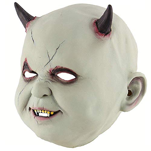 Wetietir Festival Mask Halloween Little Devil Green Head Mask Horror Zombie Haunted House Dressing Room Escape Props Party Masquerade Cosplay Costume -