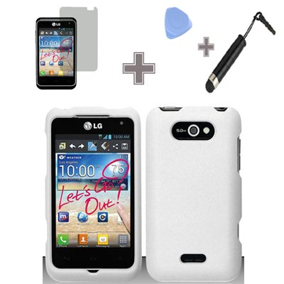 4-Items-Combo-Case-Screen-Protector-Film-Case-Opener-Stylus-Pen-Rubberized-Solid-White-Color-Snap-on-Hard-Case-Skin-Cover-Faceplate-for-LG-Motion-4G-MS770-P870-Metro-PCS