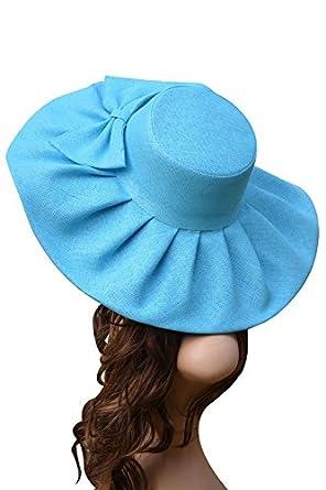 b3b799fb126 2017 Linen Summer Hat Women Kentucky Derby Wide Brim Sun Hat Wedding Church  Sea Beach Hats
