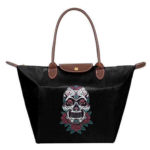 Black Handbag Bag Hobo Bags Beach Fashion Womens Shoulder Skull Flower Tote Eqvaa0