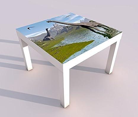 Design - Tisch mit UV Druck 55x55cm Dino Dinosaurier Kinderzimmer Spieltisch Lack Tische Bild Bilder Kinderzimmer Möbel 18A1226, Tisch 1:55x55cm myDruck-Store