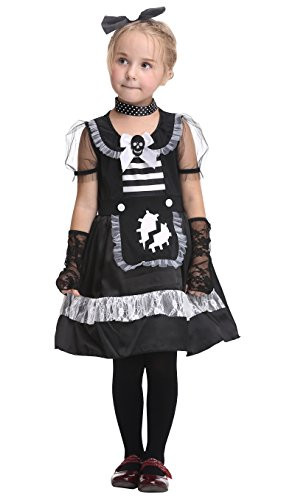 Girlscos Girl's Maid Costume Dress 4 Piece Suit Kids Halloween Cosplay Costumes Medium Black (Halloween Costum Ideas)