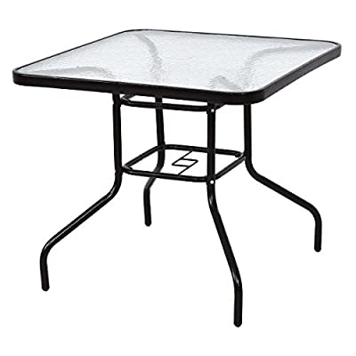 """TANGKULA Patio Table 31.5"""" Tempered Glass Top Metal Frame Outdoor Garden Poolside Balcony Dining Bistro Table"""