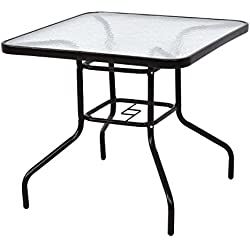 "TANGKULA Patio Table 31.5"" Tempered Glass Top Metal Frame Outdoor Garden Poolside Balcony Dining Bistro Table (Square)"