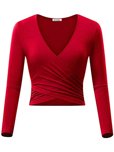 VETIOR Crop Tops for Women, Sexy Fitted Yoga Ballet Wrap Top Long Sleeve Wrap Shirt - Shirt Red Fitted Check