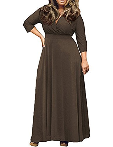 Chenghe Women's Solid V-Neck 3/4 Sleeve Plus Size Evening Party Maxi Dress Coffee XXXL