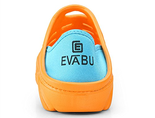 WaltZon Mens Slip On Garden Clogs Elastic Heel Aqua Water Shoes Beach Sandals Orange GsZIWrIg