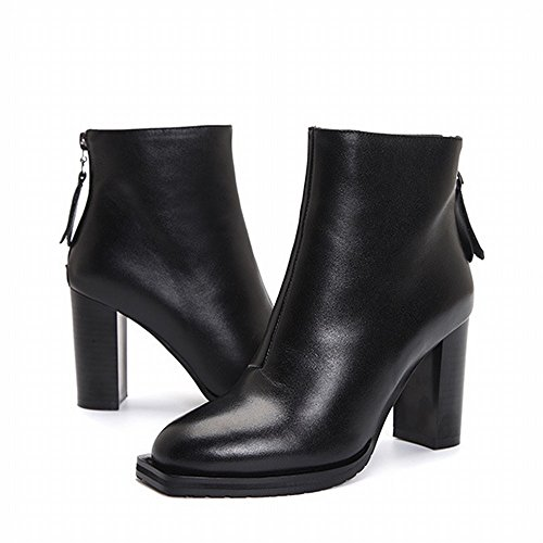 Negro de Alto Mujer Gruesas de Botas Tacón con Botas Cortas Botas wOvRcq4