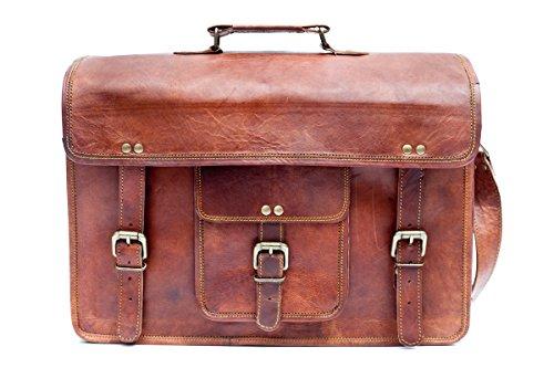 Barello Unisex Ledertasche Handarbeit Echtes Leder Schultertasche Laptoptasche 40cm Oxford Schultertasche