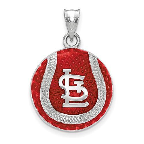 MLB St. Louis Cardinals Sterling Silver MLB LogoArt St. Louis Cardinals Enl Baseball Pendant Size One Size